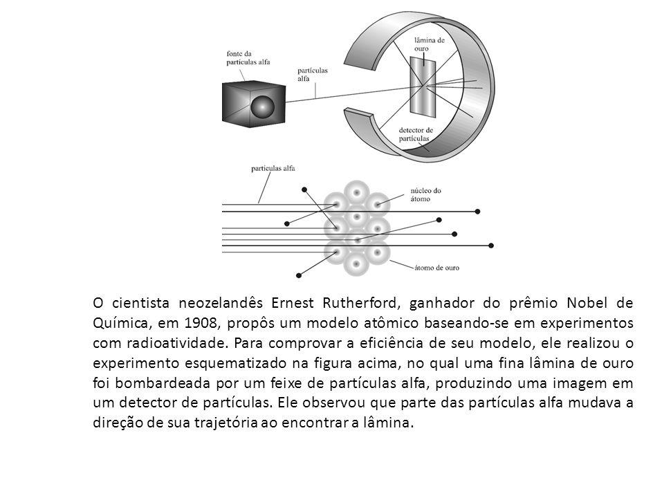 O cientista neozelandês Ernest Rutherford, ganhador do prêmio Nobel de Química, em 1908, propôs um modelo atômico baseando-se em experimentos com radi