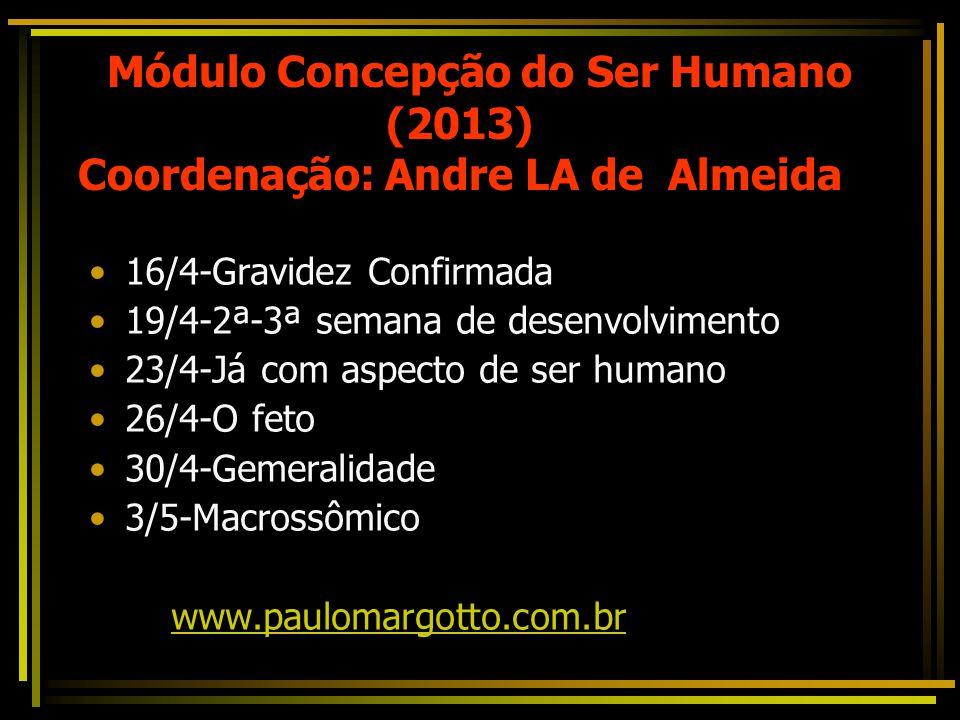 Módulo Concepção do Ser Humano (2013) Coordenação: Andre LA de Almeida 16/4-Gravidez Confirmada 19/4-2ª-3ª semana de desenvolvimento 23/4-Já com aspecto de ser humano 26/4-O feto 30/4-Gemeralidade 3/5-Macrossômico www.paulomargotto.com.br