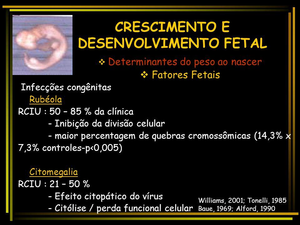 CRESCIMENTO E DESENVOLVIMENTO FETAL  Fatores interferentes  Patologias Maternos -Distúrbios Hipertensivos: Pré-eclampsia/eclampsia : restrição do cr
