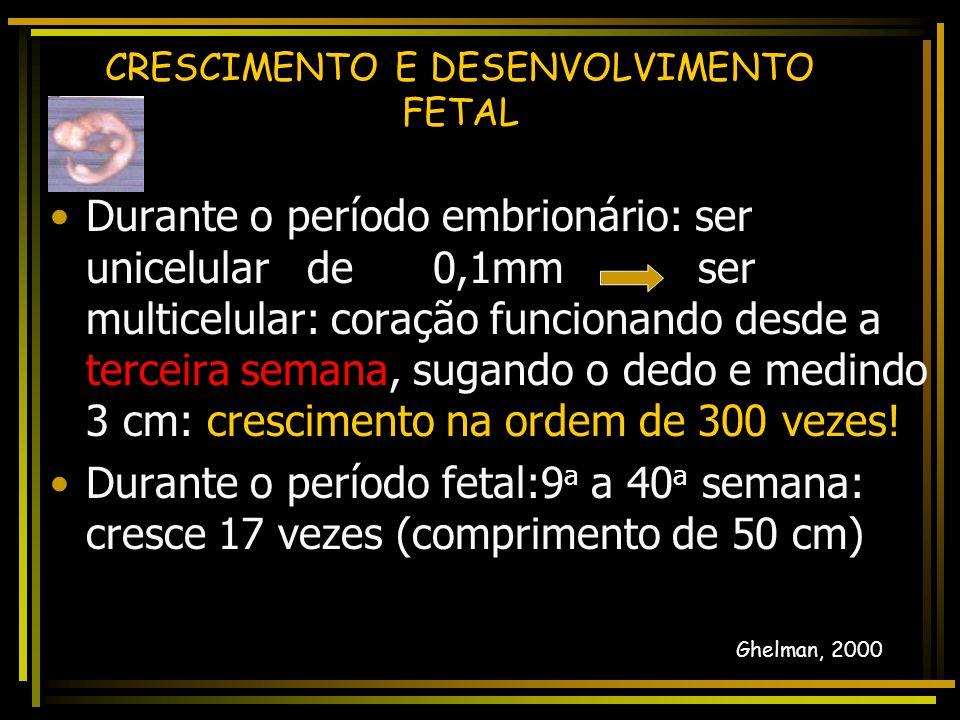 Durante o período embrionário: ser unicelular de 0,1mm ser multicelular: coração funcionando desde a terceira semana, sugando o dedo e medindo 3 cm: crescimento na ordem de 300 vezes.