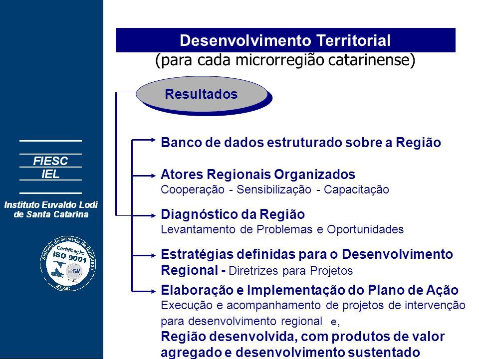 Desenvolvimento Territorial (para cada microrregião catarinense) Banco de dados estruturado sobre a Região Atores Regionais Organizados Cooperação - Sensibilização - Capacitação Diagnóstico da Região Levantamento de Problemas e Oportunidades Estratégias definidas para o Desenvolvimento Regional - Diretrizes para Projetos Resultados Elaboração e Implementação do Plano de Ação Execução e acompanhamento de projetos de intervenção para desenvolvimento regional e, Região desenvolvida, com produtos de valor agregado e desenvolvimento sustentado