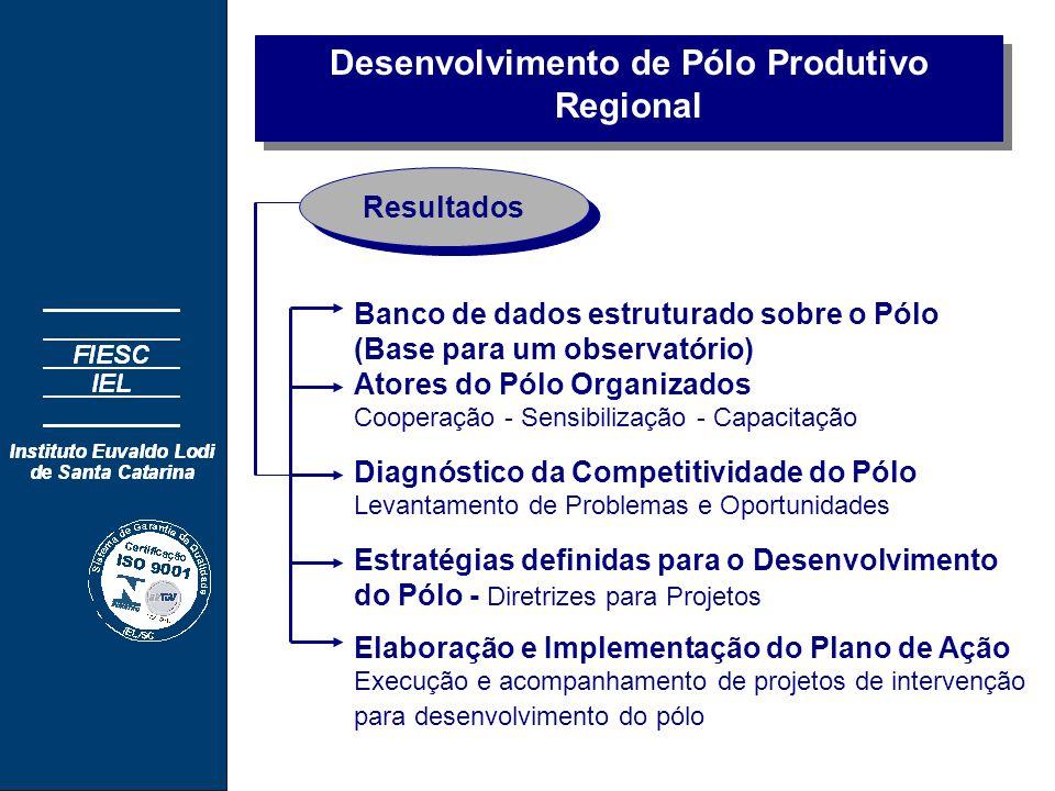 Desenvolvimento de Pólo Produtivo Regional Banco de dados estruturado sobre o Pólo (Base para um observatório) Atores do Pólo Organizados Cooperação - Sensibilização - Capacitação Diagnóstico da Competitividade do Pólo Levantamento de Problemas e Oportunidades Estratégias definidas para o Desenvolvimento do Pólo - Diretrizes para Projetos Resultados Elaboração e Implementação do Plano de Ação Execução e acompanhamento de projetos de intervenção para desenvolvimento do pólo