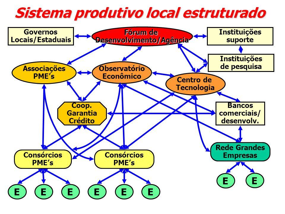 Sistema produtivo local estruturado Fórum de Desenvolvimento/Agência Observatório Econômico Associações PME's Centro de Tecnologia Governos Locais/Estaduais Instituições de pesquisa Rede Grandes Empresas Consórcios PME's Consórcios PME's Coop.