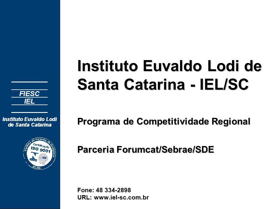 Instituto Euvaldo Lodi de Santa Catarina - IEL/SC Programa de Competitividade Regional Parceria Forumcat/Sebrae/SDE Fone: 48 334-2898 URL: www.iel-sc.com.br