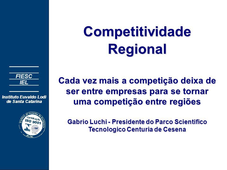 CompetitividadeRegional Cada vez mais a competição deixa de ser entre empresas para se tornar uma competição entre regiões Gabrio Luchi - Presidente do Parco Scientifico Tecnologico Centuria de Cesena