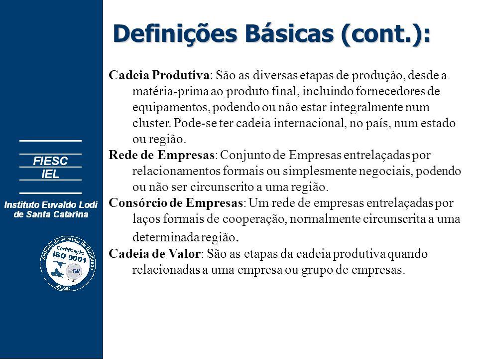 Definições Básicas (cont.): Cadeia Produtiva: São as diversas etapas de produção, desde a matéria-prima ao produto final, incluindo fornecedores de equipamentos, podendo ou não estar integralmente num cluster.