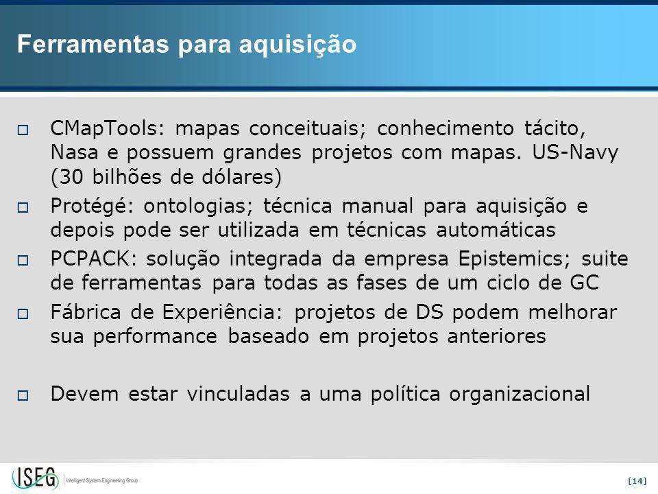 [14] Ferramentas para aquisição  CMapTools: mapas conceituais; conhecimento tácito, Nasa e possuem grandes projetos com mapas.