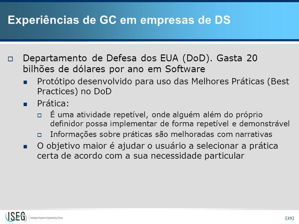 [25] Experiências de GC em empresas de DS  Departamento de Defesa dos EUA (DoD).