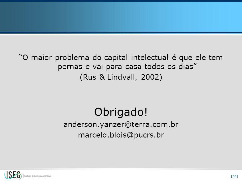 [30] O maior problema do capital intelectual é que ele tem pernas e vai para casa todos os dias (Rus & Lindvall, 2002) Obrigado.