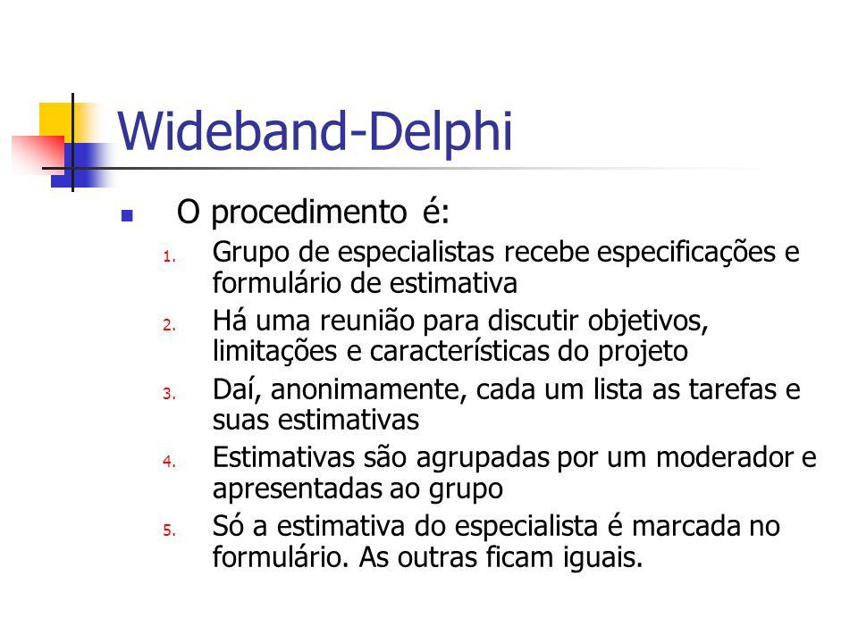 Wideband-Delphi O procedimento é: 1.