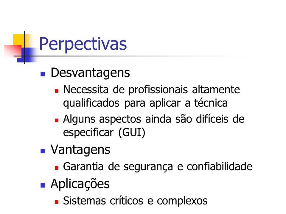 Perpectivas Desvantagens Necessita de profissionais altamente qualificados para aplicar a técnica Alguns aspectos ainda são difíceis de especificar (GUI) Vantagens Garantia de segurança e confiabilidade Aplicações Sistemas críticos e complexos