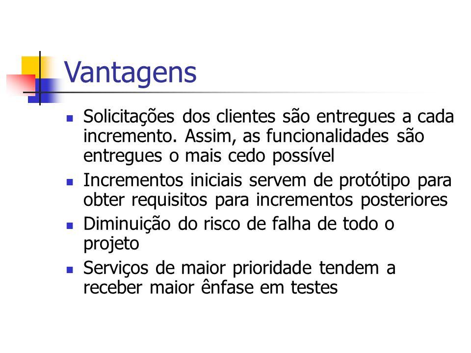 Vantagens Solicitações dos clientes são entregues a cada incremento.