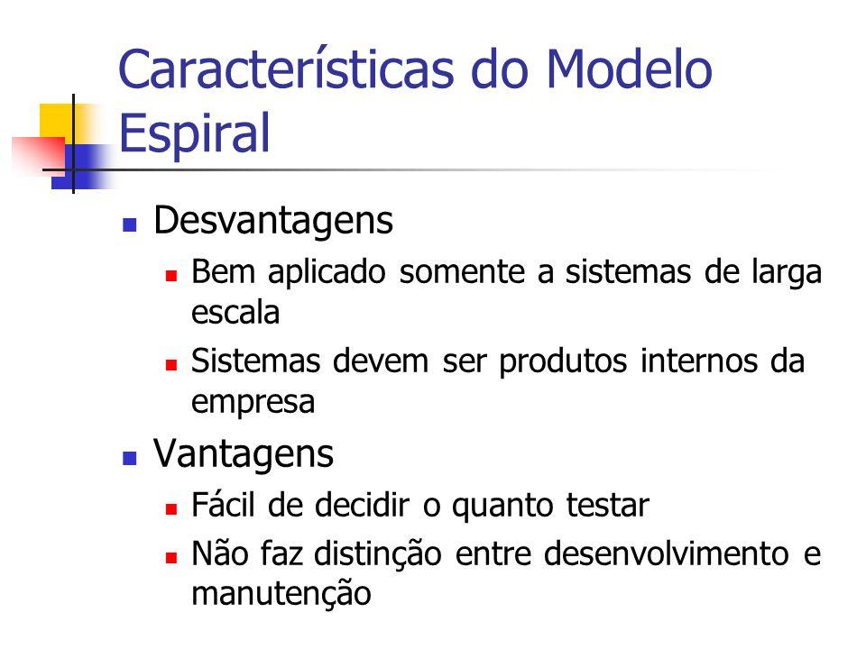 Características do Modelo Espiral Desvantagens Bem aplicado somente a sistemas de larga escala Sistemas devem ser produtos internos da empresa Vantagens Fácil de decidir o quanto testar Não faz distinção entre desenvolvimento e manutenção