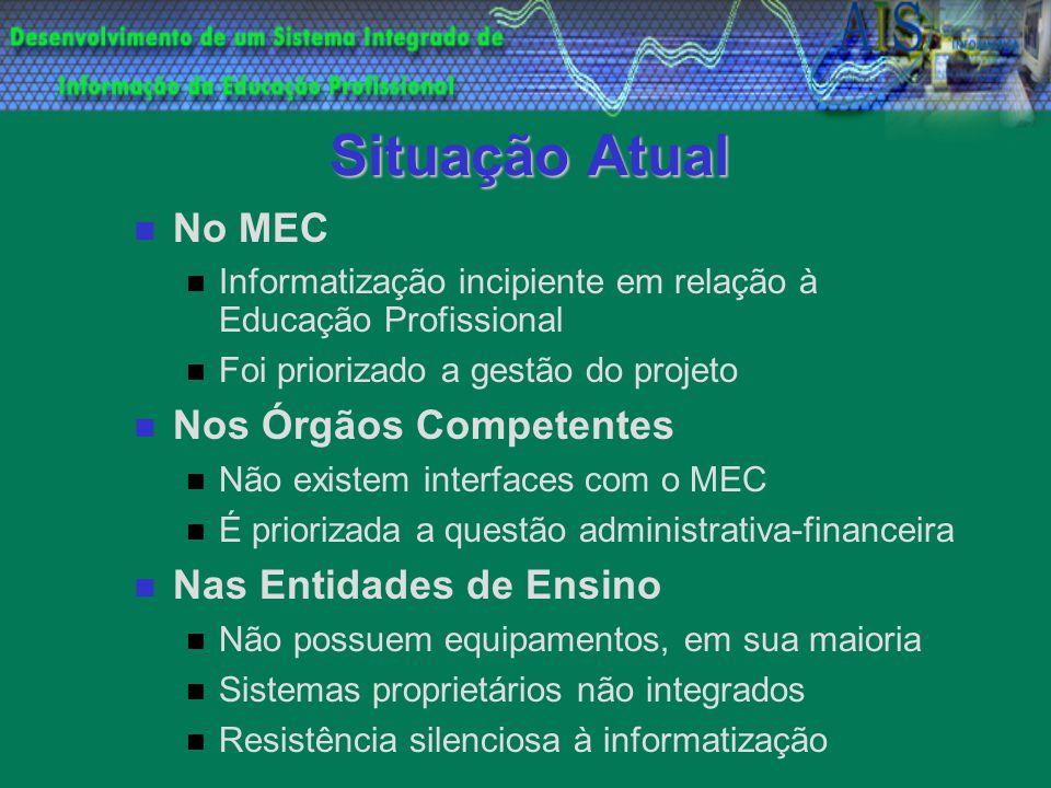 Situação Atual No MEC Informatização incipiente em relação à Educação Profissional Foi priorizado a gestão do projeto Nos Órgãos Competentes Não exist