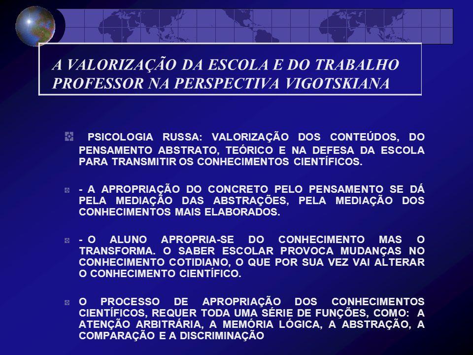 A VALORIZAÇÃO DA ESCOLA E DO TRABALHO PROFESSOR NA PERSPECTIVA VIGOTSKIANA PSICOLOGIA RUSSA: VALORIZAÇÃO DOS CONTEÚDOS, DO PENSAMENTO ABSTRATO, TEÓRICO E NA DEFESA DA ESCOLA PARA TRANSMITIR OS CONHECIMENTOS CIENTÍFICOS.
