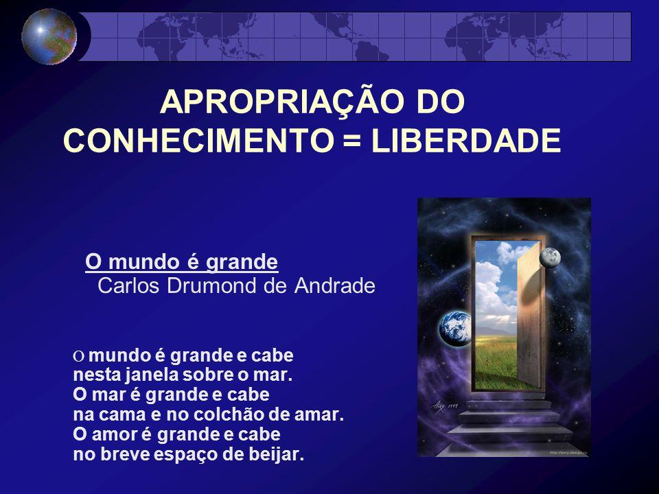 APROPRIAÇÃO DO CONHECIMENTO = LIBERDADE O mundo é grande Carlos Drumond de Andrade O mundo é grande e cabe nesta janela sobre o mar.