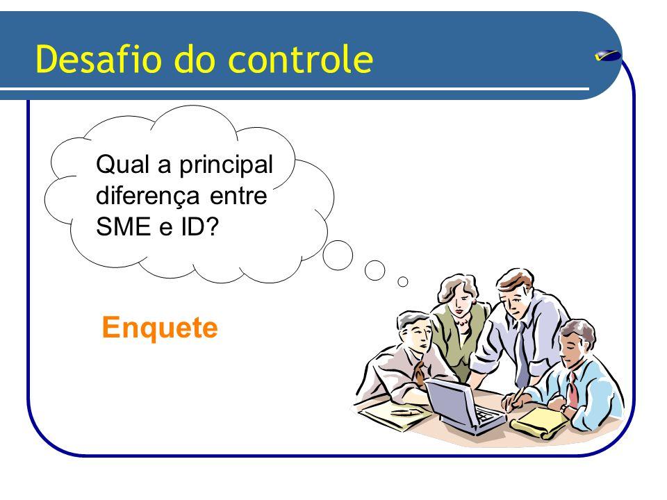Desafio do controle Qual a principal diferença entre SME e ID? Enquete