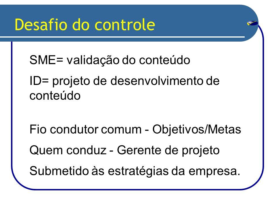 SME= validação do conteúdo ID= projeto de desenvolvimento de conteúdo Desafio do controle Fio condutor comum - Objetivos/Metas Quem conduz - Gerente de projeto Submetido às estratégias da empresa.