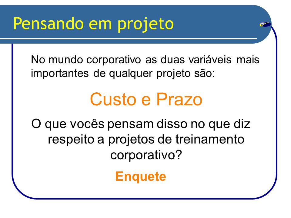 Pensando em projeto No mundo corporativo as duas variáveis mais importantes de qualquer projeto são: Custo e Prazo O que vocês pensam disso no que diz respeito a projetos de treinamento corporativo.