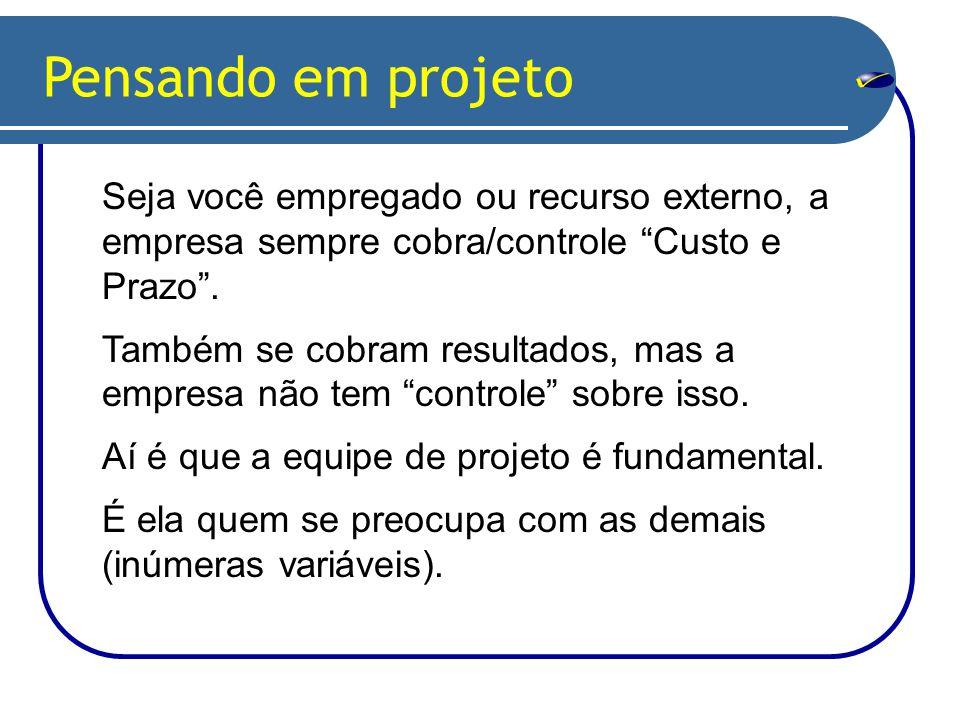 Pensando em projeto Seja você empregado ou recurso externo, a empresa sempre cobra/controle Custo e Prazo .