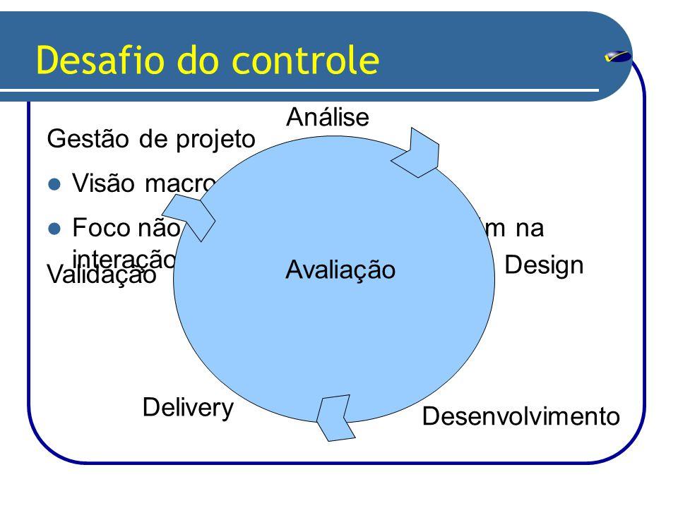 Desafio do controle Gestão de projeto Visão macro e micro.