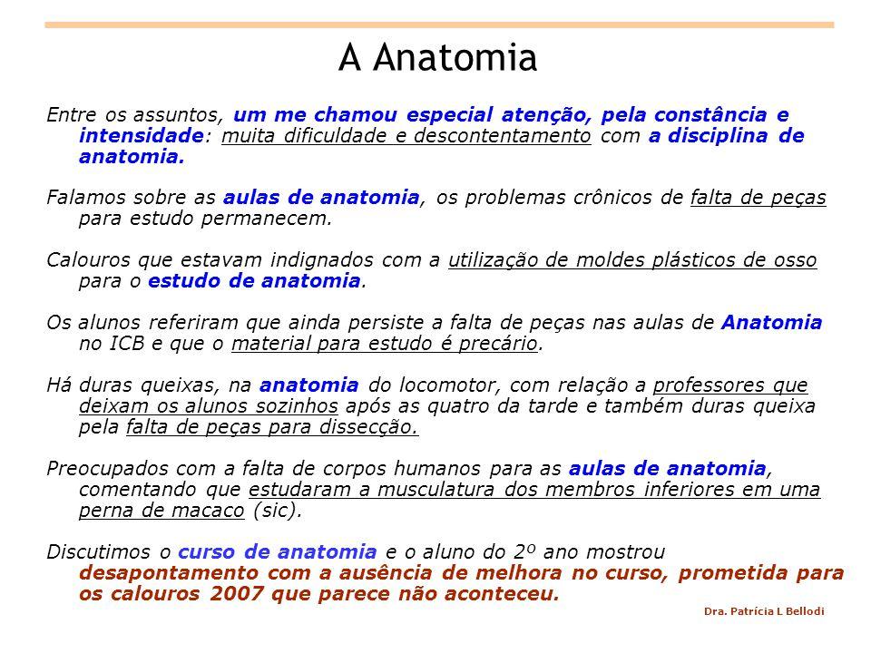Dra. Patrícia L Bellodi A Anatomia Entre os assuntos, um me chamou especial atenção, pela constância e intensidade: muita dificuldade e descontentamen