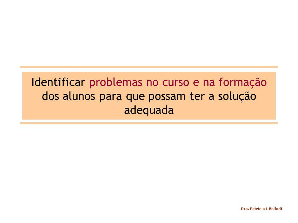 Identificar problemas no curso e na formação dos alunos para que possam ter a solução adequada Dra.