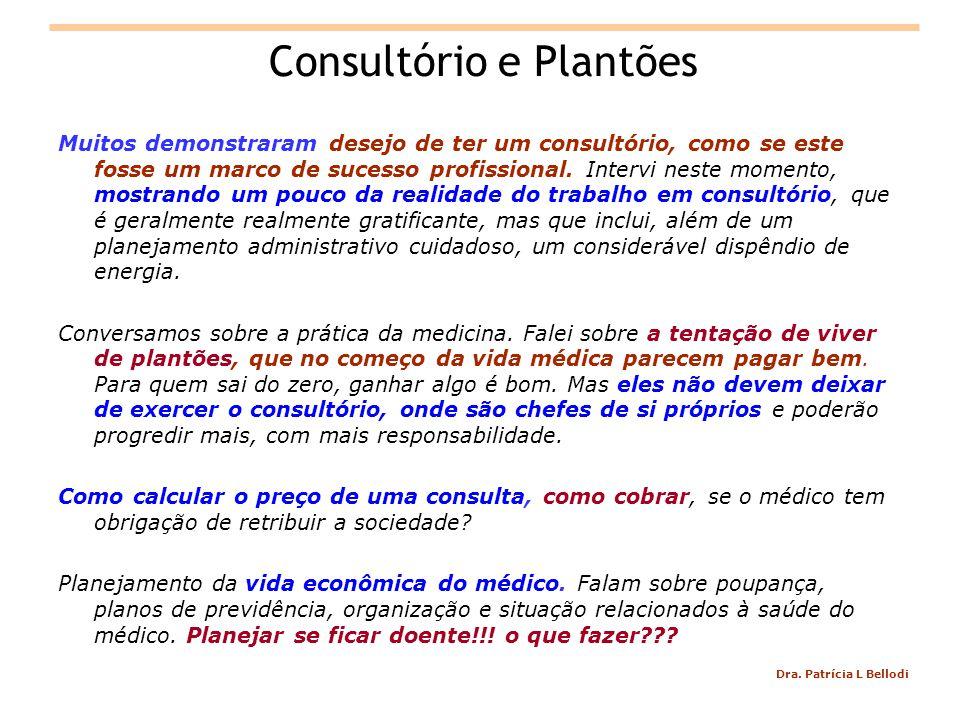 Dra. Patrícia L Bellodi Consultório e Plantões Muitos demonstraram desejo de ter um consultório, como se este fosse um marco de sucesso profissional.