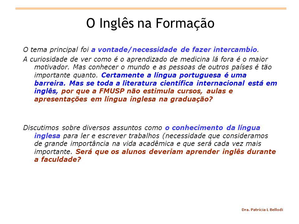 Dra. Patrícia L Bellodi O Inglês na Formação O tema principal foi a vontade/necessidade de fazer intercambio. A curiosidade de ver como é o aprendizad
