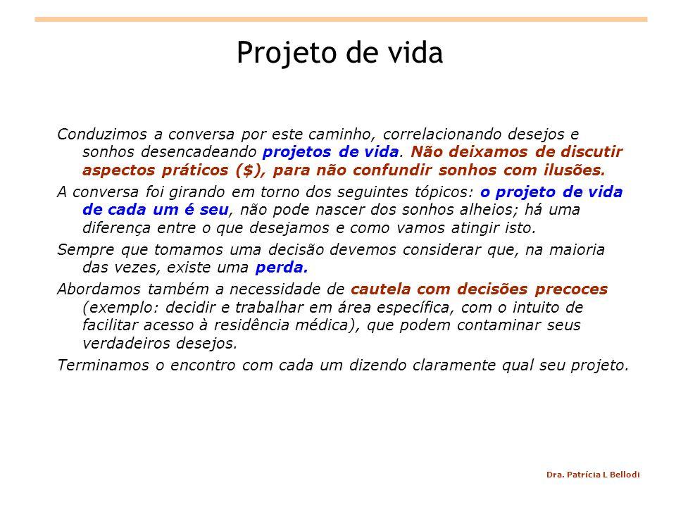 Dra. Patrícia L Bellodi Projeto de vida Conduzimos a conversa por este caminho, correlacionando desejos e sonhos desencadeando projetos de vida. Não d