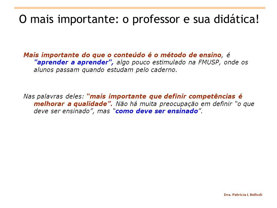 Dra.Patrícia L Bellodi O mais importante: o professor e sua didática.
