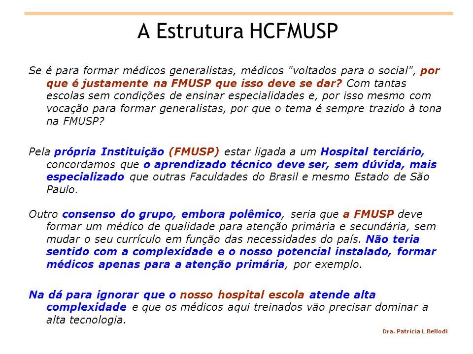 Dra. Patrícia L Bellodi A Estrutura HCFMUSP Se é para formar médicos generalistas, médicos