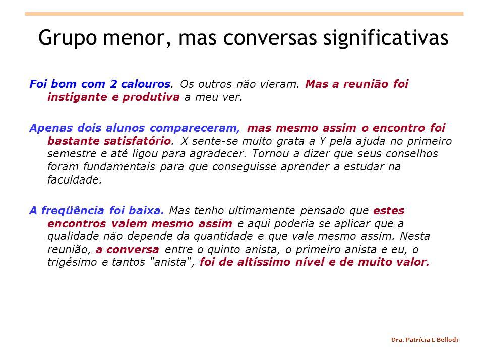 Dra.Patrícia L Bellodi Grupo menor, mas conversas significativas Foi bom com 2 calouros.