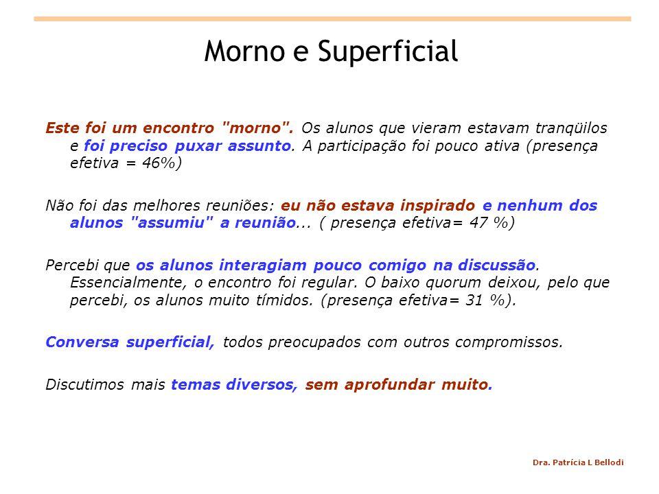 Dra.Patrícia L Bellodi Morno e Superficial Este foi um encontro morno .