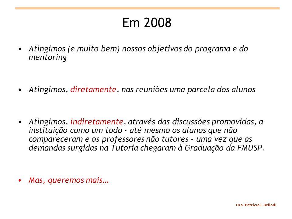 Dra. Patrícia L Bellodi Em 2008 Atingimos (e muito bem) nossos objetivos do programa e do mentoring Atingimos, diretamente, nas reuniões uma parcela d