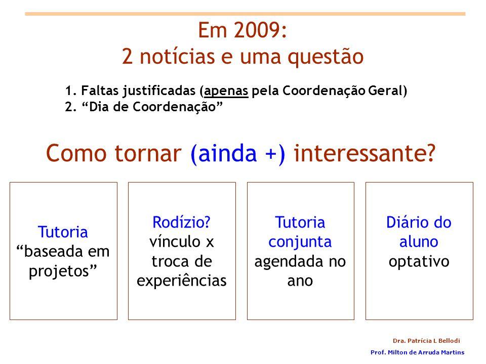 Dra.Patrícia L Bellodi 1. Faltas justificadas (apenas pela Coordenação Geral) 2.