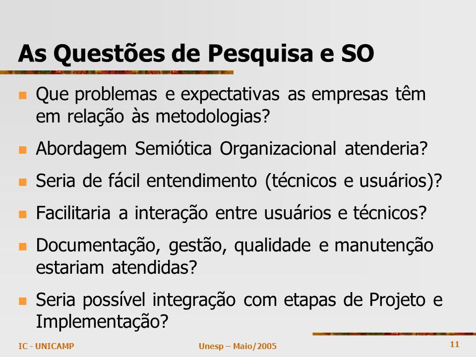 11 Unesp – Maio/2005IC - UNICAMP As Questões de Pesquisa e SO Que problemas e expectativas as empresas têm em relação às metodologias.