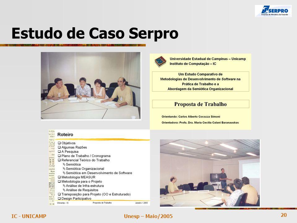 20 Unesp – Maio/2005IC - UNICAMP Estudo de Caso Serpro