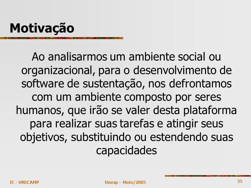 35 Unesp – Maio/2005IC - UNICAMP Motivação Ao analisarmos um ambiente social ou organizacional, para o desenvolvimento de software de sustentação, nos