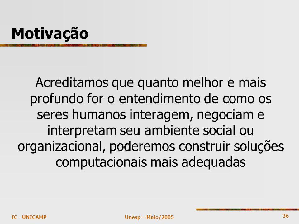 36 Unesp – Maio/2005IC - UNICAMP Motivação Acreditamos que quanto melhor e mais profundo for o entendimento de como os seres humanos interagem, negoci