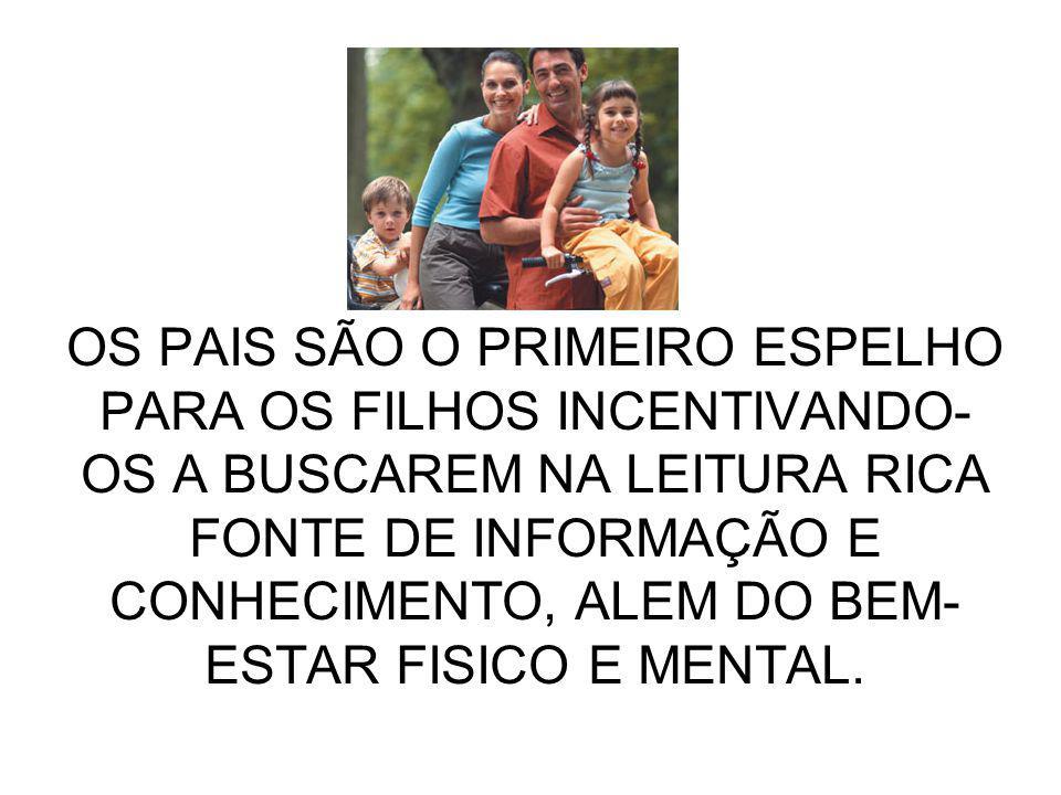 OS PAIS SÃO O PRIMEIRO ESPELHO PARA OS FILHOS INCENTIVANDO- OS A BUSCAREM NA LEITURA RICA FONTE DE INFORMAÇÃO E CONHECIMENTO, ALEM DO BEM- ESTAR FISIC