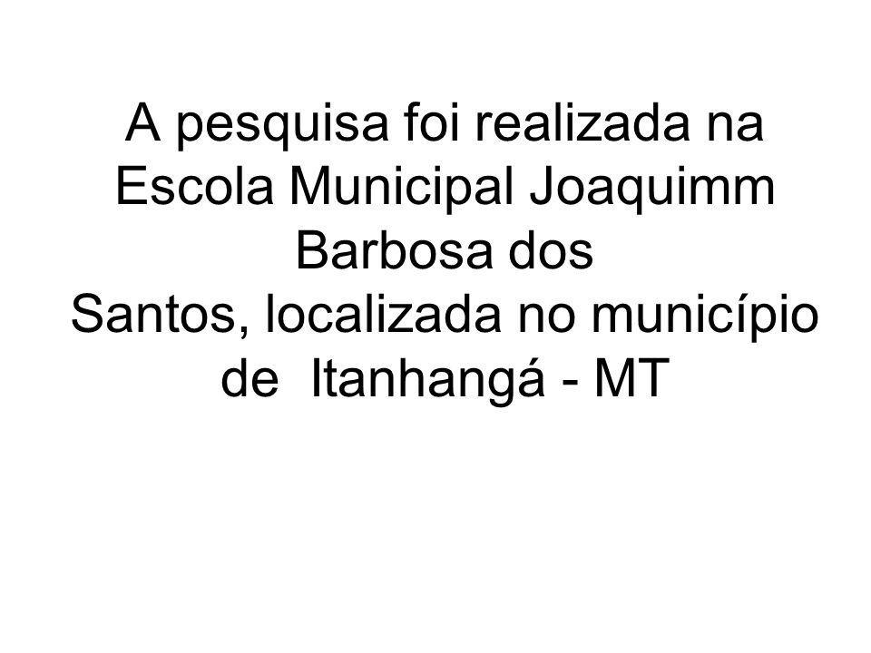 A pesquisa foi realizada na Escola Municipal Joaquimm Barbosa dos Santos, localizada no município de Itanhangá - MT