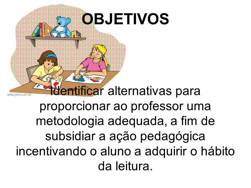 OBJETIVOS Identificar alternativas para proporcionar ao professor uma metodologia adequada, a fim de subsidiar a ação pedagógica incentivando o aluno
