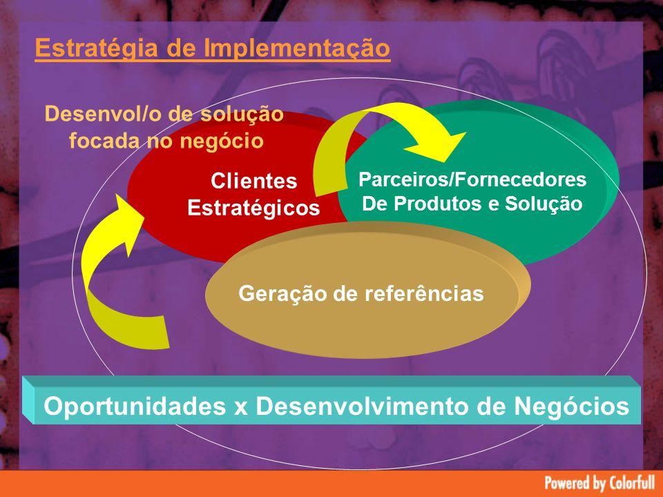 Estratégia de Implementação Clientes Estratégicos Parceiros/Fornecedores De Produtos e Solução Geração de referências Oportunidades x Desenvolvimento de Negócios Desenvol/o de solução focada no negócio