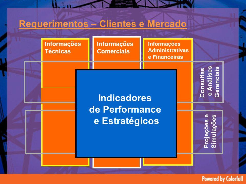 Consultas e Análises Gerenciais Projeções e Simulações Indicadores de Performance e Estratégicos Informações Técnicas Informações Comerciais Informações Administrativas e Financeiras Requerimentos – Clientes e Mercado