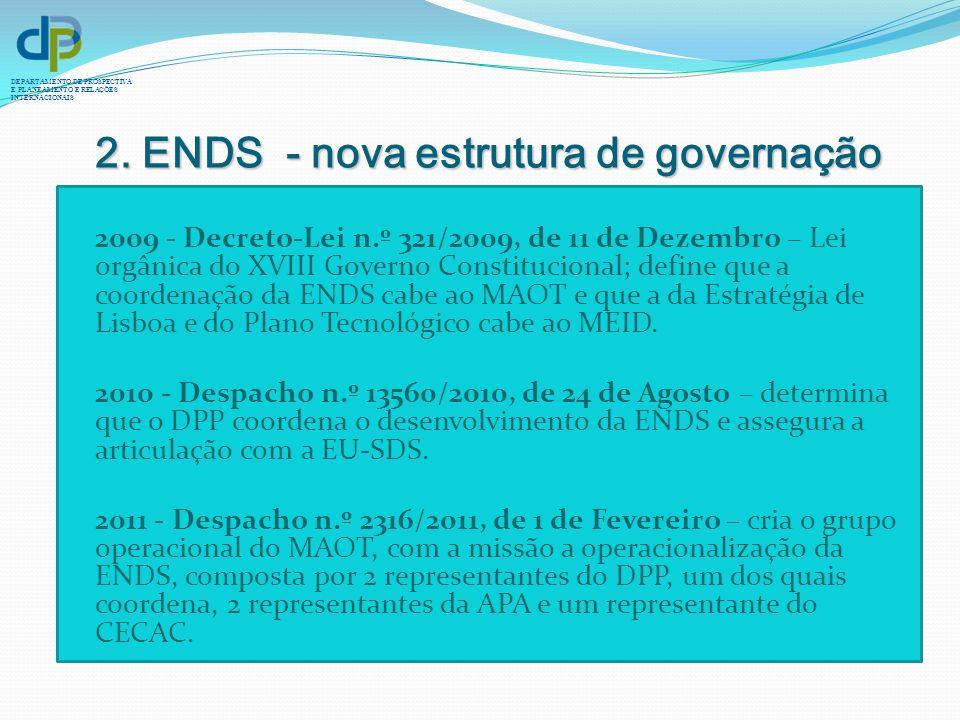 DEPARTAMENTO DE PROSPECTIVA E PLANEAMENTO E RELAÇÕES INTERNACIONAIS 2. ENDS - nova estrutura de governação 2009 - Decreto-Lei n.º 321/2009, de 11 de D