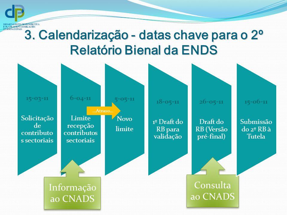 DEPARTAMENTO DE PROSPECTIVA E PLANEAMENTO E RELAÇÕES INTERNACIONAIS 3. Calendarização - datas chave para o 2º Relatório Bienal da ENDS 15-03-11 Solici