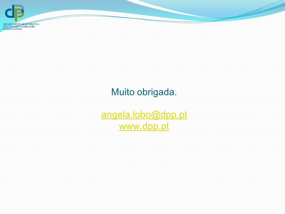DEPARTAMENTO DE PROSPECTIVA E PLANEAMENTO E RELAÇÕES INTERNACIONAIS Muito obrigada. angela.lobo@dpp.pt www.dpp.pt