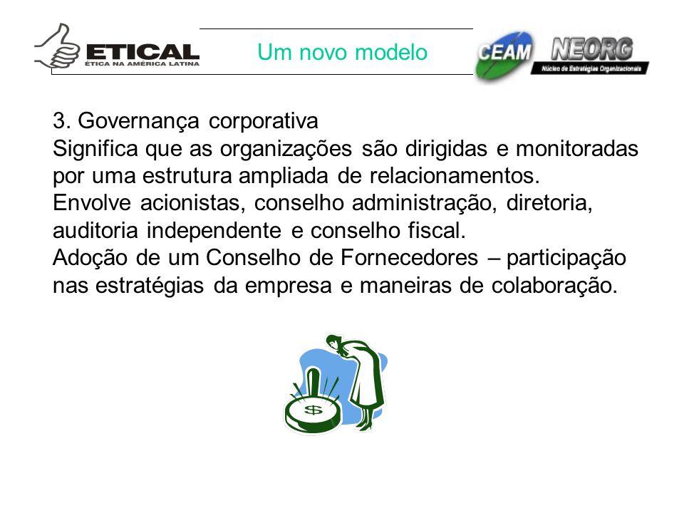 Um novo modelo 3. Governança corporativa Significa que as organizações são dirigidas e monitoradas por uma estrutura ampliada de relacionamentos. Envo