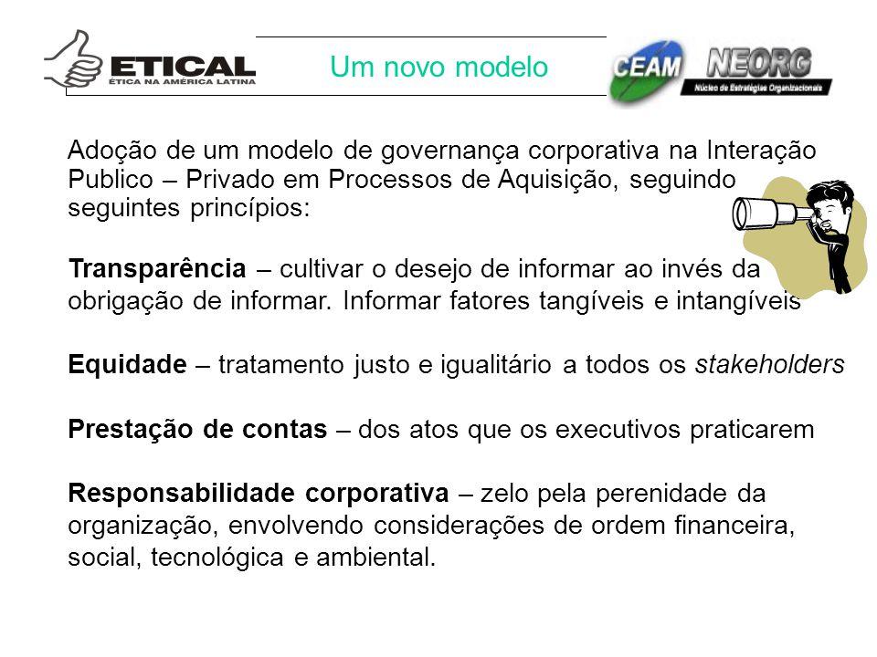 Um novo modelo Adoção de um modelo de governança corporativa na Interação Publico – Privado em Processos de Aquisição, seguindo seguintes princípios: